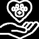 Icono corazon flotando sobre mano