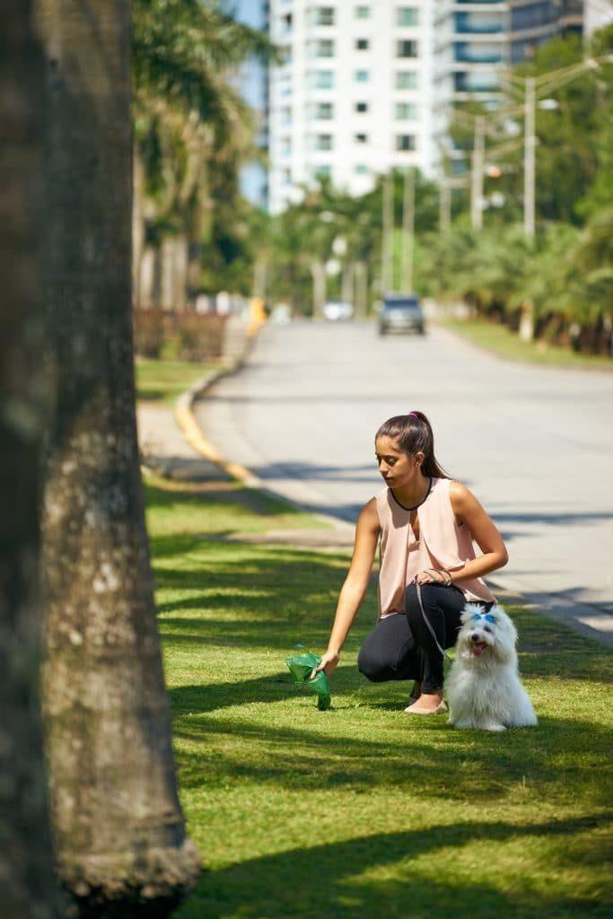 Foto de chica recogiendo en una bolsa los excrementos de su perro.